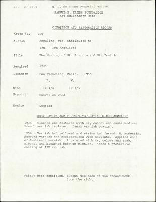 Image for K0289 - Condition and restoration record, circa 1950s-1960s