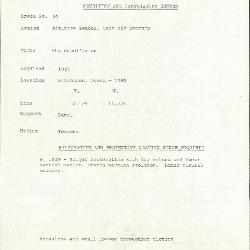 Image for K0029 - Condition and restoration record, circa 1950s-1960s