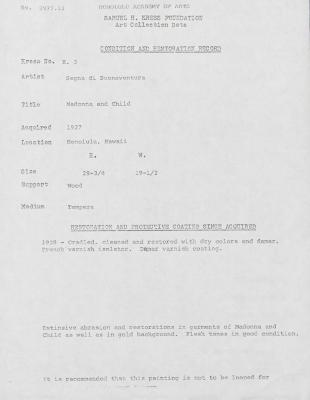 Image for K0003 - Condition and restoration record, circa 1950s-1960s