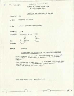 Image for K0300 - Condition and restoration record, circa 1950s-1960s