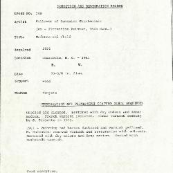 Image for K0298 - Condition and restoration record, circa 1950s-1960s