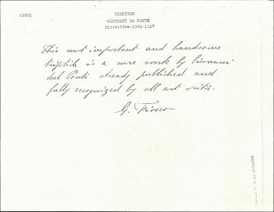 Image for K0300 - Expert opinion by Fiocco, circa 1930s-1940s