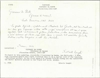 Image for K0300 - Expert opinion by Longhi, 1934