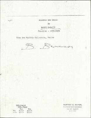Image for K0323 - Expert opinion by Berenson, circa 1920s-1950s