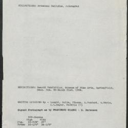 Image for K0329 - Art object record, circa 1930s-1950s