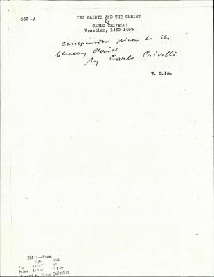 Image for K0336A - Expert opinion by Suida, circa 1920s-1950s
