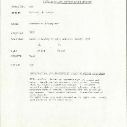 Image for K0339 - Condition and restoration record, circa 1950s-1960s