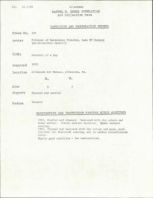 Image for K0338 - Condition and restoration record, circa 1950s-1960s