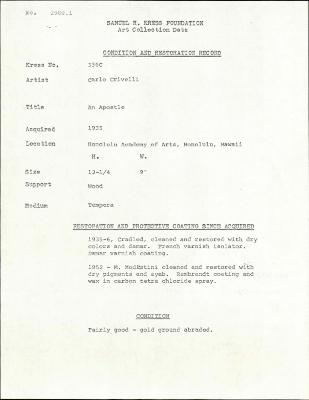 Image for K0336C - Condition and restoration record, circa 1950s-1960s