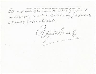 Image for K0338 - Expert opinion by Marle, circa 1920s-1930s