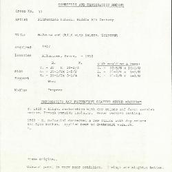 Image for K0033 - Condition and restoration record, circa 1950s-1960s
