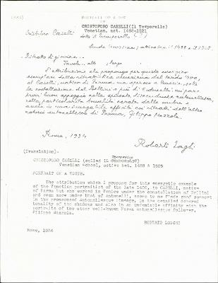 Image for K0338 - Expert opinion by Longhi, 1934