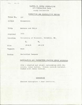 Image for K0337 - Condition and restoration record, circa 1950s-1960s