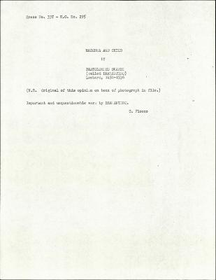 Image for K0337 - Expert opinion by Fiocco, circa 1930s-1940s
