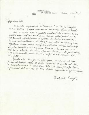 Image for K0034 - Expert opinion by Longhi, 1927