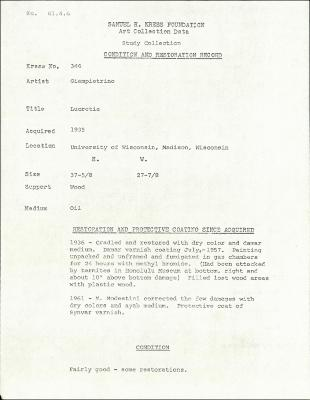 Image for K0346 - Condition and restoration record, circa 1950s-1960s
