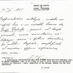 Image for K0343 - Expert opinion by Fiocco, 1935