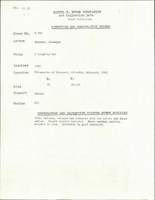 Image for K0344 - Condition and restoration record, circa 1950s-1960s