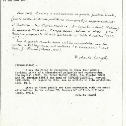 Image for K0354 - Expert opinion by Longhi, circa 1920s-1950s