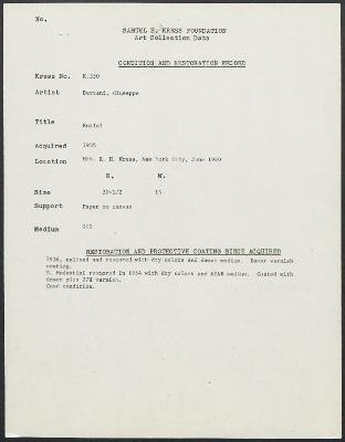 Image for K0350 - Condition and restoration record, circa 1950s-1960s