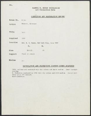 Image for K0351 - Condition and restoration record, circa 1950s-1960s