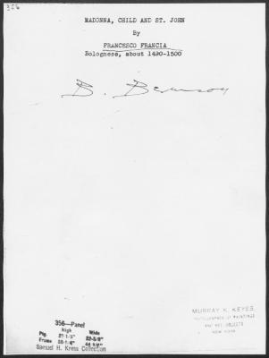 Image for K0356 - Expert opinion by Berenson, circa 1920s-1950s