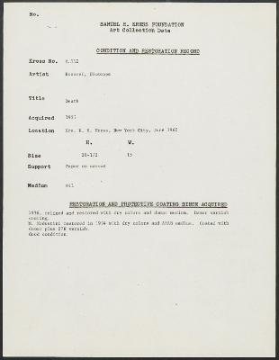 Image for K0352 - Condition and restoration record, circa 1950s-1960s