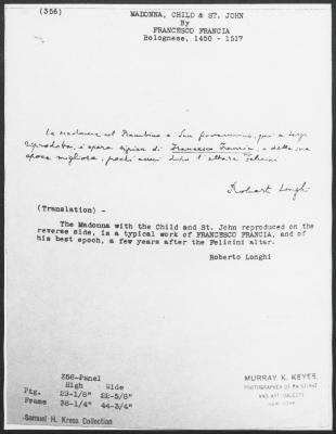 Image for K0356 - Expert opinion by Longhi, circa 1920s-1950s