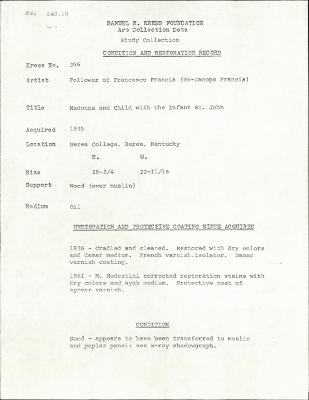 Image for K0356 - Condition and restoration record, circa 1950s-1960s