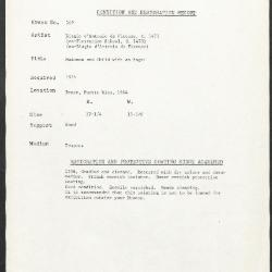Image for K0369 - Condition and restoration record, circa 1950s-1960s