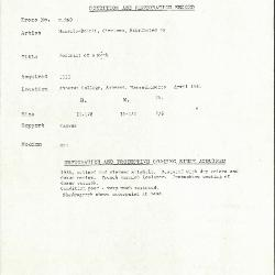 Image for K0360 - Condition and restoration record, circa 1950s-1960s