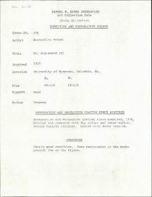 Image for K0378 - Condition and restoration record, circa 1950s-1960s