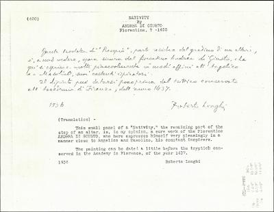 Image for K0420 - Expert opinion by Longhi, 1936