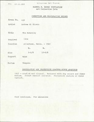 Image for K0420 - Condition and restoration record, circa 1950s-1960s