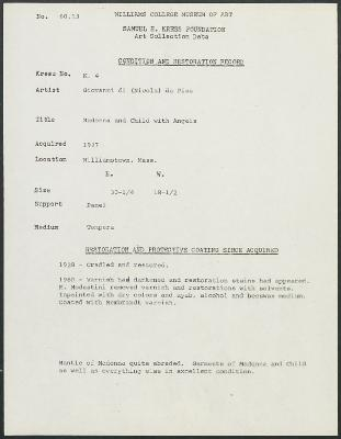 Image for K0004 - Condition and restoration record, circa 1950s-1960s