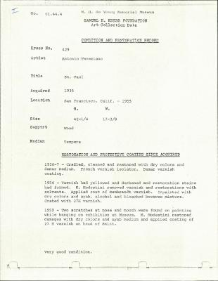 Image for K0429 - Condition and restoration record, circa 1950s-1960s