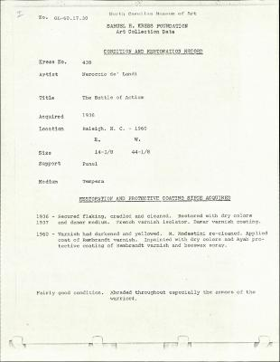 Image for K0438 - Condition and restoration record, circa 1950s-1960s