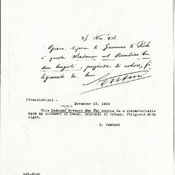 Image for K0440 - Expert opinion by A. Venturi, 1936