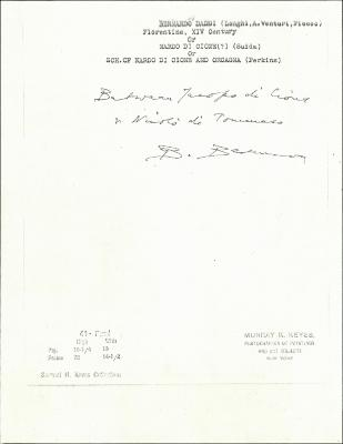 Image for K0044 - Expert opinion by Berenson, circa 1920s-1950s
