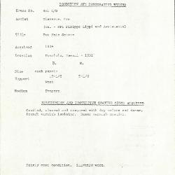 Image for K0441C - Condition and restoration record, circa 1950s-1960s
