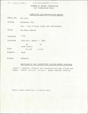 Image for K0441A - Condition and restoration record, circa 1950s-1960s
