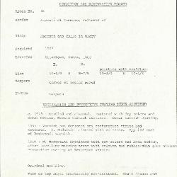 Image for K0044 - Condition and restoration record, circa 1950s-1960s
