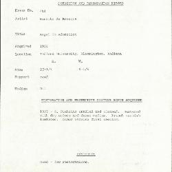 Image for K0458 - Condition and restoration record, circa 1950s-1960s