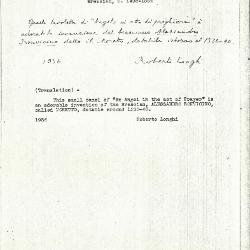Image for K0458 - Expert opinion by Longhi, 1936