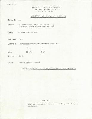 Image for K0461 - Condition and restoration record, circa 1950s-1960s