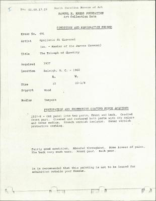 Image for K0491 - Condition and restoration record, circa 1950s-1960s