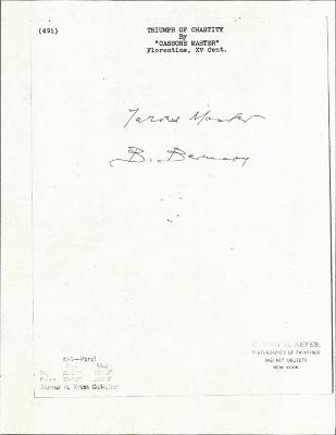 Image for K0491 - Expert opinion by Berenson, circa 1920s-1950s
