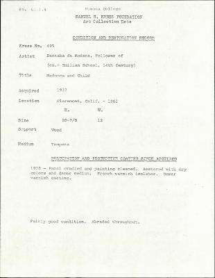 Image for K0495 - Condition and restoration record, circa 1950s-1960s
