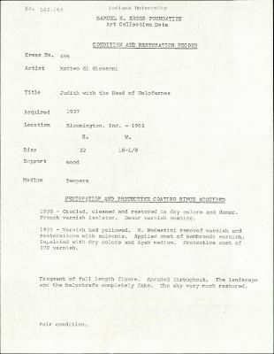 Image for K0496 - Condition and restoration record, circa 1950s-1960s