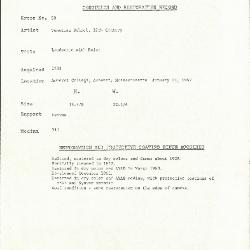 Image for K0050 - Condition and restoration record, circa 1950s-1960s